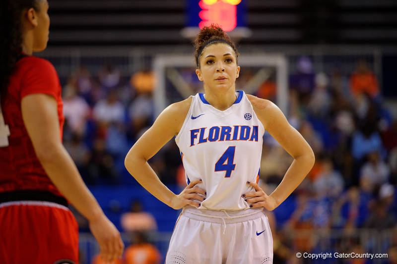Florida Gators guard Carlie Needles looks disgusted as the lead for Georgia increases late in the first half.  Florida Gators Womens Basketball vs Georgia Bulldogs.  February 28th, 2015. Gator Country photo by David Bowie.
