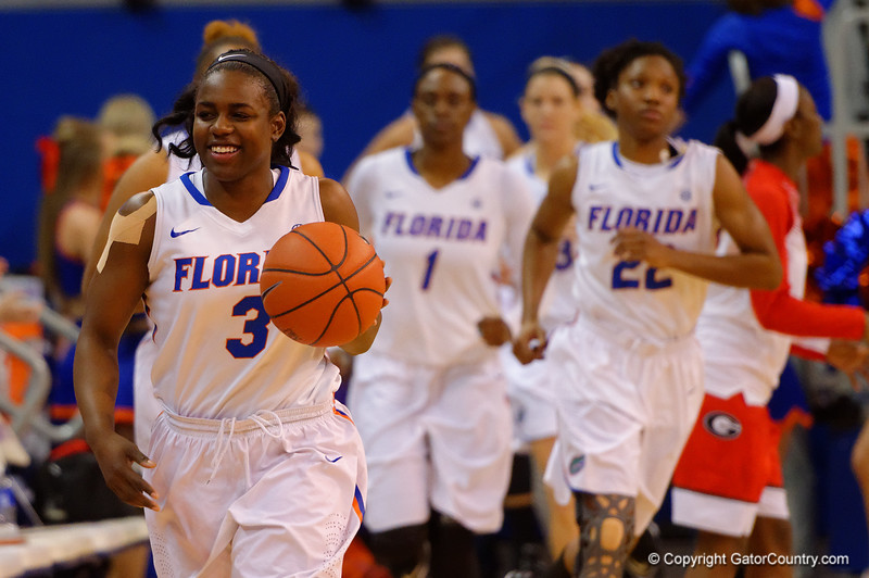 =gwb3- runs onto the court for the start of the game.  Florida Gators Womens Basketball vs Georgia Bulldogs.  February 28th, 2015. Gator Country photo by David Bowie.