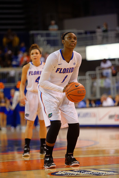 Florida Gators guard Ronni Williams on the free throw line during the first half.  Florida Gators Womens Basketball vs Georgia Bulldogs.  February 28th, 2015. Gator Country photo by David Bowie.