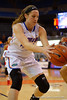 Florida Gators forward Haley Lorenzen saves the ball from going out of bounds.  Florida Gators Womens Basketball vs Georgia Bulldogs.  February 28th, 2015. Gator Country photo by David Bowie.