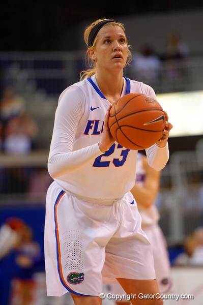 Florida Gators guard Brooke Copeland stands at the free throw line during the first half.  Florida Gators Womens Basketball vs Georgia Bulldogs.  February 28th, 2015. Gator Country photo by David Bowie.