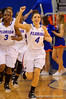 Florida Gators guard Carlie Needles runs onto the court for the start of the game.  Florida Gators Womens Basketball vs Georgia Bulldogs.  February 28th, 2015. Gator Country photo by David Bowie.