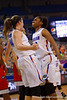 Florida Gators forward Kayla Lewis celebrates with Florida Gators forward Haley Lorenzen as Lorenzen ties the game in the second half.  Florida Gators Womens Basketball vs Georgia Bulldogs.  February 28th, 2015. Gator Country photo by David Bowie.