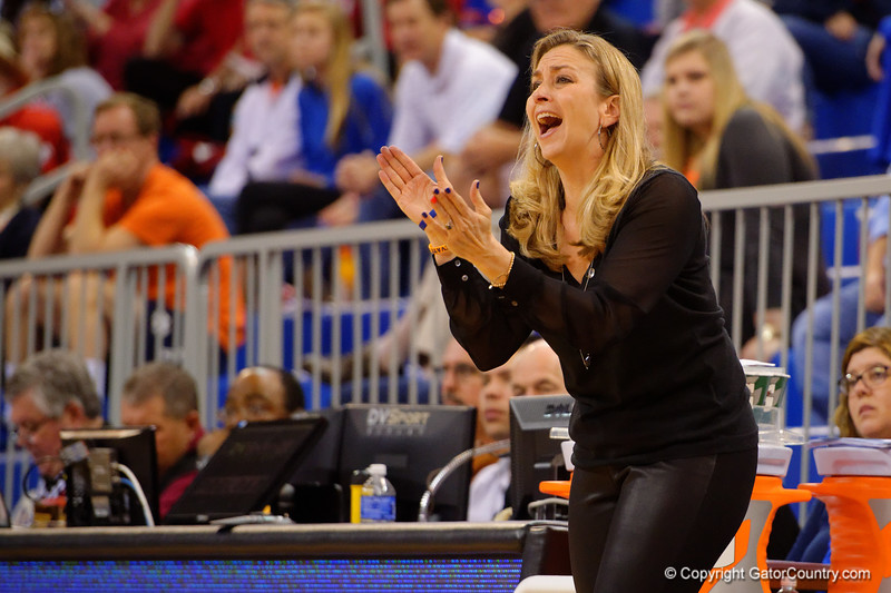 Florida Gators head coach Amanda Butler yells out to her team during the second half.  Florida Gators Womens Basketball vs Georgia Bulldogs.  February 28th, 2015. Gator Country photo by David Bowie.