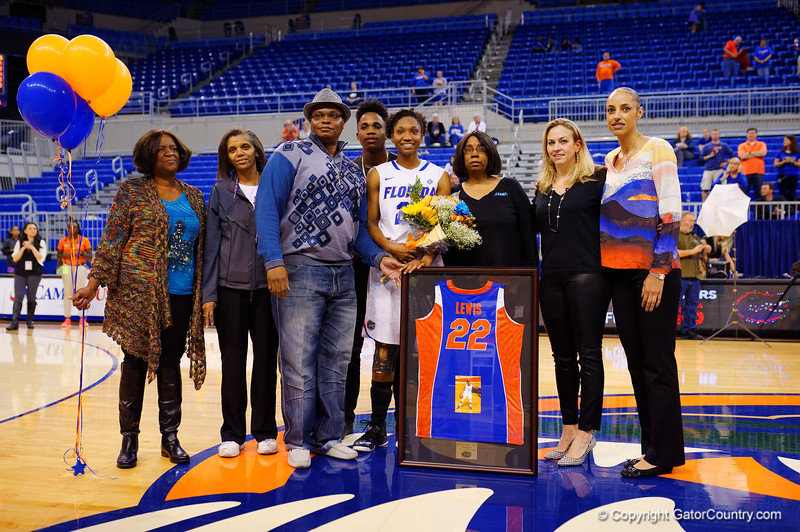 Florida Gators forward Kayla Lewis is honored during senior day as the lone senior on the Gator womens basketball team this year.  Florida Gators Womens Basketball vs Georgia Bulldogs.  February 28th, 2015. Gator Country photo by David Bowie.