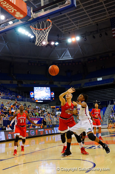 Florida Gators forward Kayla Lewis fights for a rebound during the second half.  Florida Gators Womens Basketball vs Georgia Bulldogs.  February 28th, 2015. Gator Country photo by David Bowie.