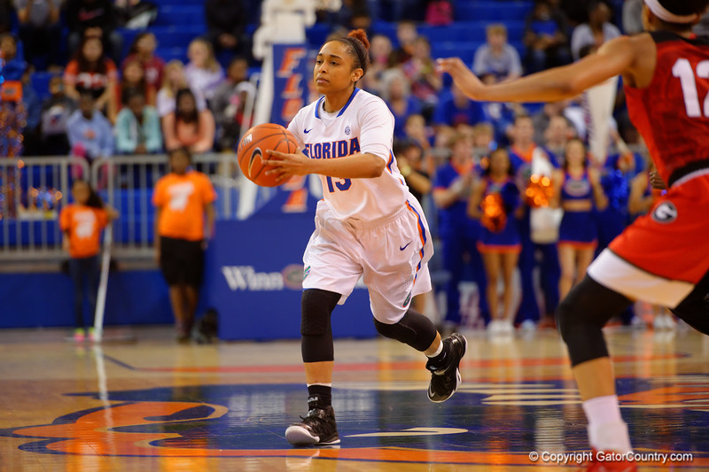 Florida Gators guard Cassie Peoples dribbles down court during the first half.  Florida Gators Womens Basketball vs Georgia Bulldogs.  February 28th, 2015. Gator Country photo by David Bowie.