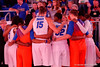 The Florida Gators gather before player introductions.  Florida Gators Womens Basketball vs Georgia Bulldogs.  February 28th, 2015. Gator Country photo by David Bowie.