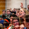 "Senior Abby Musson shouts ""we"" in between seniors Sam Adams and Patrick Shreve at the Prom assembly in the Main Gym April 17. The seniors won the last spirit stick of the school year."