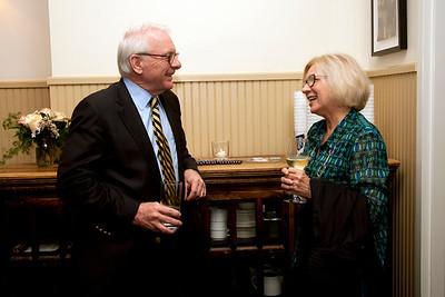 Cindy Chew 2/4/15 Woodie Haskins speaks with Linda Beavers at the BB&N alumni gathering in San Francisco.
