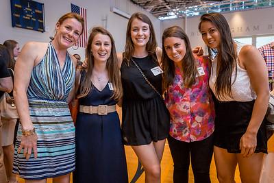 Carol Ann Loftus, US Athletic Coordinator with 2010 alumnae Kara Lehman, Emma Frangules, Morgan Dove,  and Emily Tang