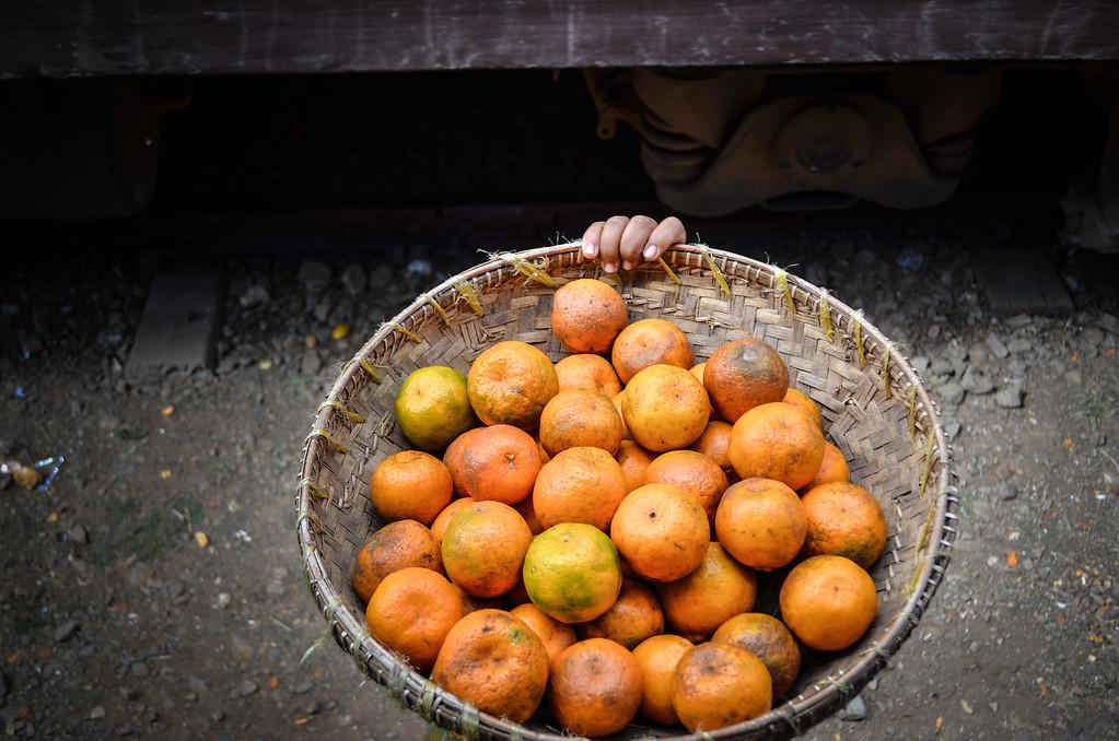 Orange seller at Kalaw, Burma