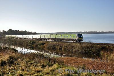 29008 + 29020 pass Lough Owel with the 0905 Connolly - Sligo. Sun 23.11.14