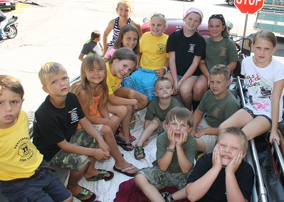Enjoying Time on a Fire Truck, Tuscarora Fire Truck Parade, Tuscarora (7-26-2014)