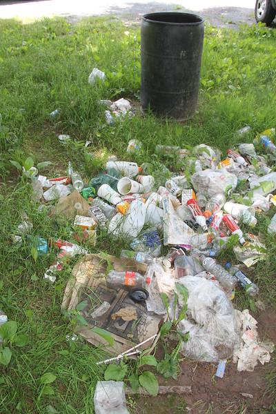 Bear Empties Garbage Can, Rabbit Run, Tamaqua (6-27-2014)