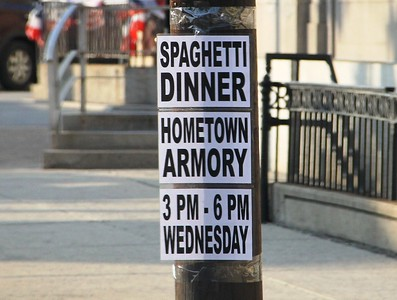 Pre Spaghetti Dinner, signs on pole, Five Points, Tamaqua (6-24-2014)