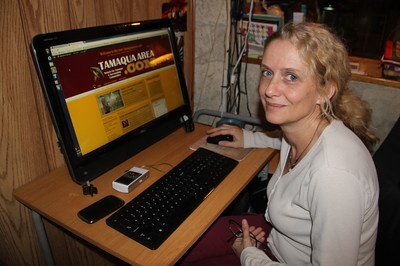 Photo of Kathleen Quinn Farber Working on TamaquaArea.com (5-29-2014)