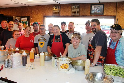 Volunteers During Chicken Wing Sale, Volunteer Fire Company, Lansford (9-28-2014)