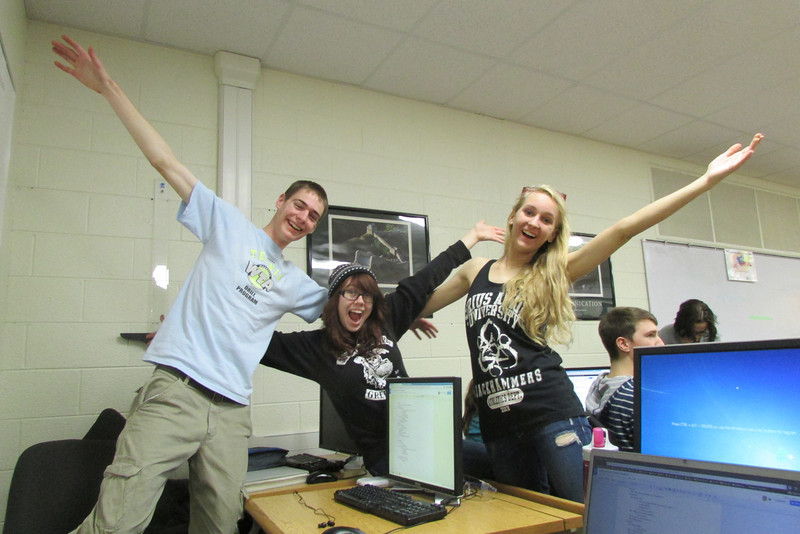Paul, Savannah, and Lizzy have some fun while working on the Rockwell Automation Video Contest entry