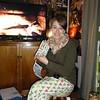 Jessica unwrapping bunny purse