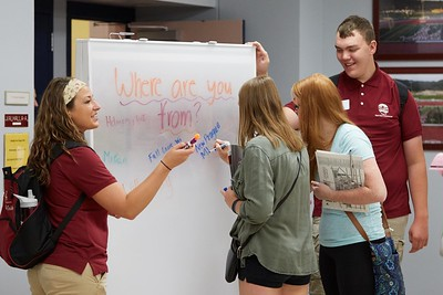 Buildings; Cartwright; Activity; Socializing; Objects; Whiteboard Chalkboard; People; Vanguards; Student Students; Summer; June; Time/Weather; day; Type of Photography; Candid; UWL UW-L UW-La Crosse University of Wisconsin-La Crosse; Location; Inside