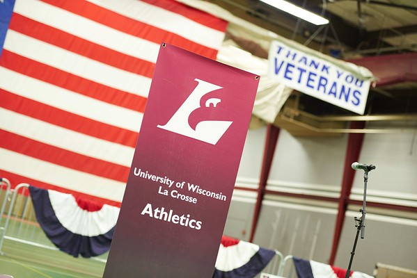 -UWL UW-L UW-La Crosse University of Wisconsin-La Crosse; Athlete Athletics; Candid; day; Daytime; Eating; Fall; Flag; Group; Inside; Mitchell Hall Fieldhouse; November; Socializing; Talking, Veterans, Breakfast, respect, Patriotism