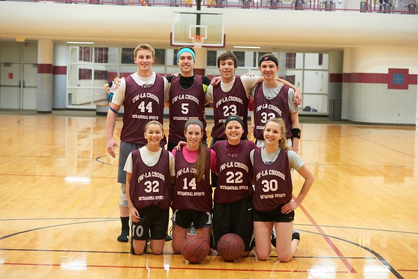 Activity; Basketball; Intramural Sports; Playing; Buildings; Recreational Eagle Center Rec; Location; Inside; Objects; Logo; People; Student Students; Woman Women; Man Men; Type of Photography; Candid; UWL UW-L UW-La Crosse University of Wisconsin-La Crosse; Winter; February; Group