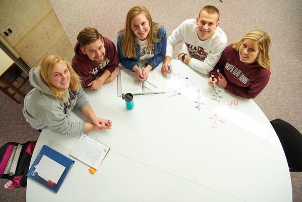 UWL UW-L UW-La Crosse University of Wisconsin-La Crosse; Activity; Studying; Buildings; Murphy Library; People; Student Students; Time/Weather; day; Winter; December; Objects; Whiteboard Chalkboard; Type of Photography; Group