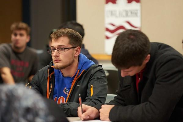 -UWL UW-L UW-La Crosse University of Wisconsin-La Crosse; Candid; Classroom; Collaborating; day; December; Group; Inside; Man men; Student students; Wing