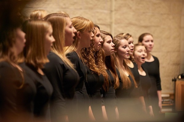 -UWL UW-L UW-La Crosse University of Wisconsin-La Crosse; Band; December; evening; Group; Inside; Music; Singing; Student students; Woman women