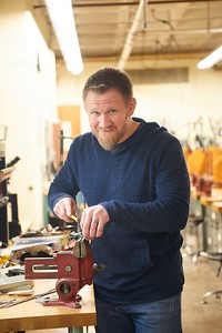 Activity; Art; Collaboration; Buildings; Center for the Arts CFA; Location; Inside; Classroom; Objects; Desk; People; Faculty; Man Men; Type of Photography; Portrait; Posed; UWL UW-L UW-La Crosse University of Wisconsin-La Crosse; Winter; February; Brad Nichols Art Department Metal Lab