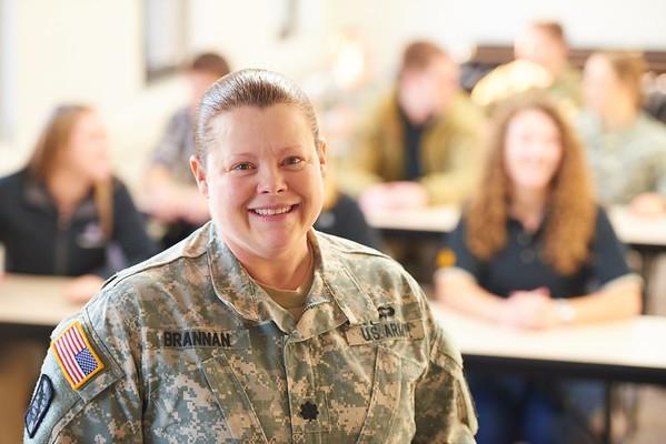 ROTC; Military; Students; Professor; Instructor Jane Brannan