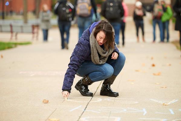-UWL UW-L UW-La Crosse University of Wisconsin-La Crosse; Candid; Chalk; cloudy; Community Service; day; November; Outside; Volunteering; Wittich; Woman women