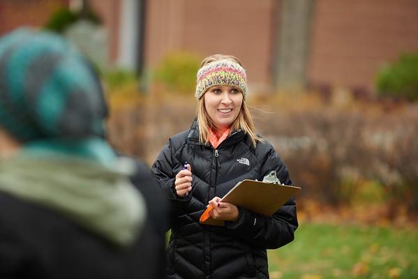-UWL UW-L UW-La Crosse University of Wisconsin-La Crosse; Candid; Clipboard; cloudy; Community Service; Outside; Smiling; Student students; Talking; Volunteering; Wittich; Woman women