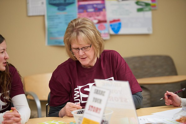 Activity; Studying; Talking; Buildings; Centennial; Location; Inside; People; Woman Women; Staff; Type of Photography; Candid; UWL UW-L UW-La Crosse University of Wisconsin-La Crosse; Winter; February; TRIO Student Support Services