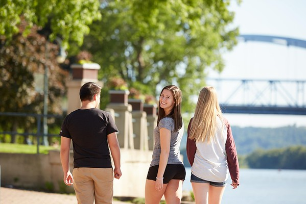 Activity; Walking; Socializing; Buildings; Downtown; Riverside Park; Location; Outside; People; Woman Women; Student Students; Man Men; Diversity; Summer; June; Time/Weather; day; Type of Photography; Candid; UWL UW-L UW-La Crosse University of Wisconsin-La Crosse; River; Bridge