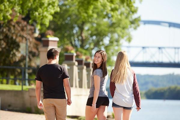 Activity; Walking; Socializing; Buildings; Downtown; Riverside Park; Location; Outside; People; Woman Women; Student Students; Man Men; Diversity; Summer; June; Time/Weather; day; Type of Photography; Candid; UWL UW-L UW-La Crosse University of Wisconsin-La Crosse; River; Bridge