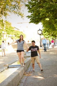 Buildings; Downtown; Activity; Walking; Socializing; Riverside Park; Location; Outside; People; Woman Women; Student Students; Man Men; Diversity; Summer; June; Time/Weather; day; Type of Photography; Candid; UWL UW-L UW-La Crosse University of Wisconsin-La Crosse; River; Bridge