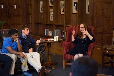 """Hillary Jordan, the author of """"Mudbound"""", speaks to students during and after Morning Meeting."""
