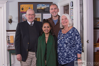 Five College Executive Director Neal Abraham, Mount Holyoke senior Patricia Garcia, Patricia's nominating professor Christian Gundermann of Mount Holyoke and Lorna Peterson, retired Five College executive director.
