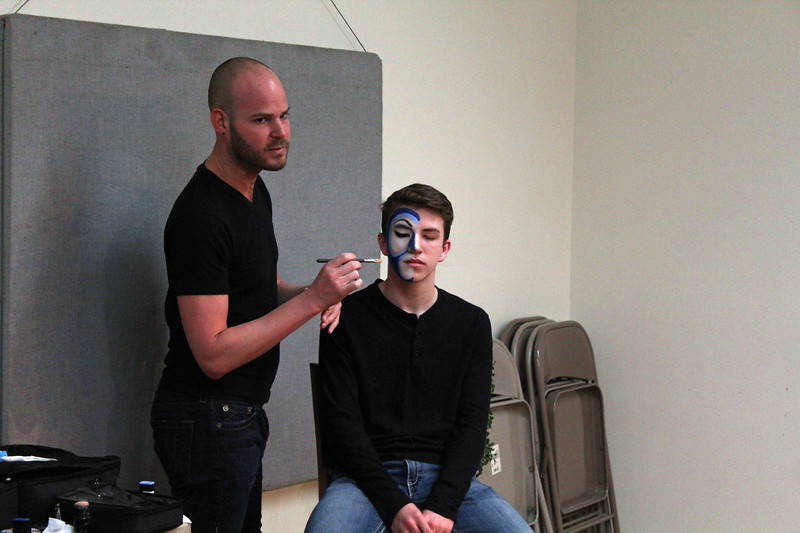 Dylan Werth with the makeup artist