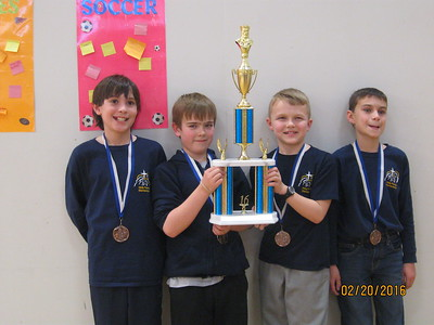Holy Family Elementary Chess TeamL to R Noah Bruggeman, Seamus Holmes, Tate Dinkel, Braydon Binder