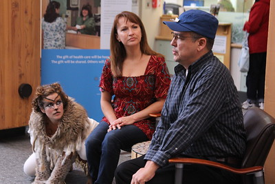 Leah M. Hill (Lynx), Therisa Bennett (Miranda), and Allan Hayton (Sidney) perform a teaser at the Southcentral Foundation Primary Care Center. Photo by Richard Perry.