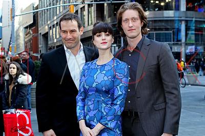 "NEW YORK, NY - APRIL 06: The Cast Of ""TURN: Washington's Spies"" Ring The NASDAQ Closing Bell at NASDAQ MarketSite on April 6, 2015 in New York City."
