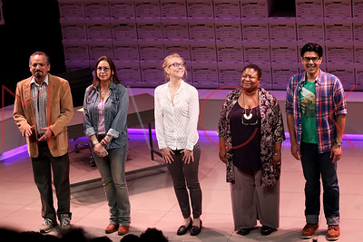 """NEW YORK, NY - AUGUST 18:  Curtain call for """"Informed Consent"""" Opening Night at Primary Stages."""