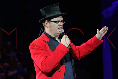 NEW YORK, NY - NOVEMBER 21:  Guest Ringmaster Jim Gaffigan greets the audience at the Big Apple Circus 2015 Family Benefit at Damrosch Park, Lincoln Center on November 21, 2015 in New York City.
