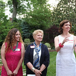 Beckie Ennis and Libby Parkinson stood by as President of the Butterfly Society Deborah Greenwald talked.