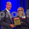 Nancy Brown, Principal of CliftonLarsonAllen CAST (right) and Large Private Company CFO Of The Year Winner Jason Yaudes of American Tire Distributors.