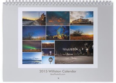"For the past year I have been photographing Williston, ND leading me to create this wall calendar which displays 12 of the best photographs that depict the town in its raw form.   10.99"" x 8.51"" Satin finish."