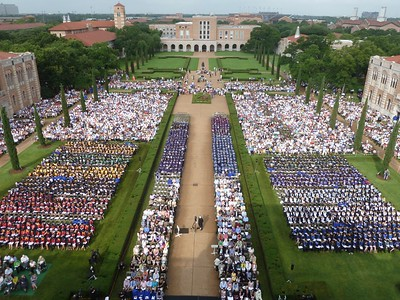 Saturday's Ceremony Seen from Lovett Hall Roof